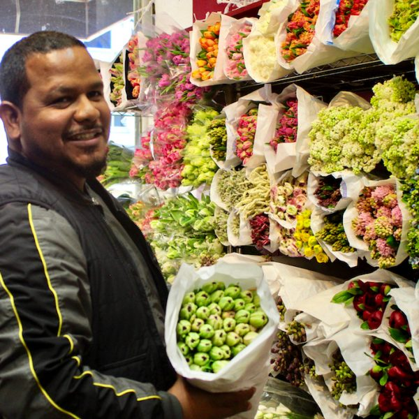 Troy Baksh talks with Pamela Lamp at Who I Met Today blog in his NYC Flower District shop