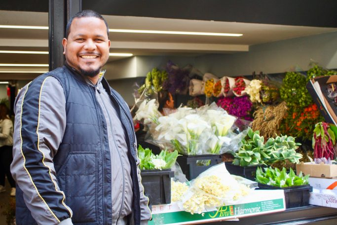 Troy Baksh and his shop in the NYC Flower District
