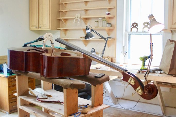 Dustin Williams repairs and makes violins, violas, basses, and cellos