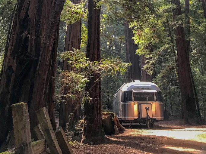 california camping in an airstream trailer